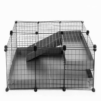 3X2 COMFORT C&C GUINEA PIG CAGE WITH LOFT + RAMP IN GREY WITH LID