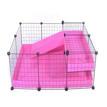 3X2 COMFORT C&C GUINEA PIG CAGE WITH LOFT + RAMP IN PINK WITH NO LID