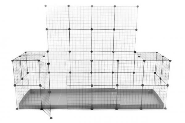C & C ENCLOSURE 6 X 2 for 2 rabbits with lid - in grey