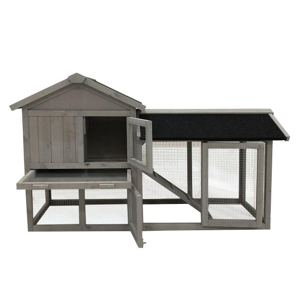 CHARLES BENTLEY TWO STOREY HUTCH WITH RUN GREY