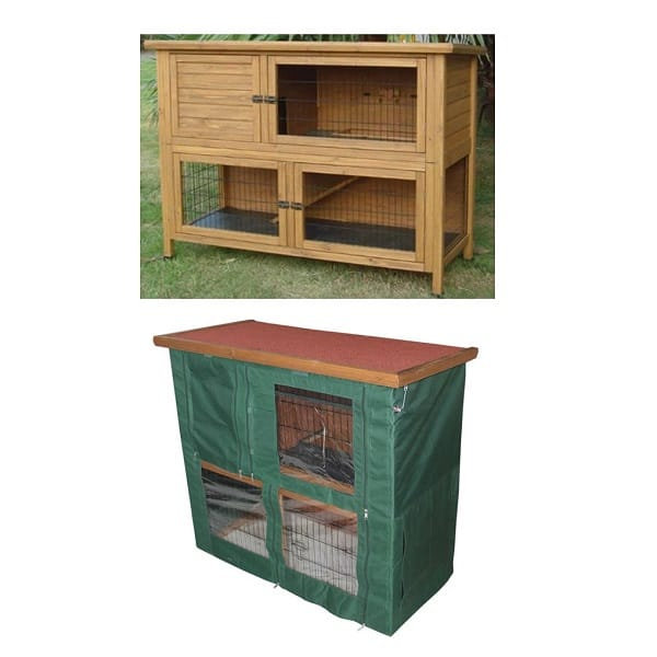 LAZY BONES GUINEA PIG OR SMALL PET HUTCH AND RUN SOLID BASE LB-335