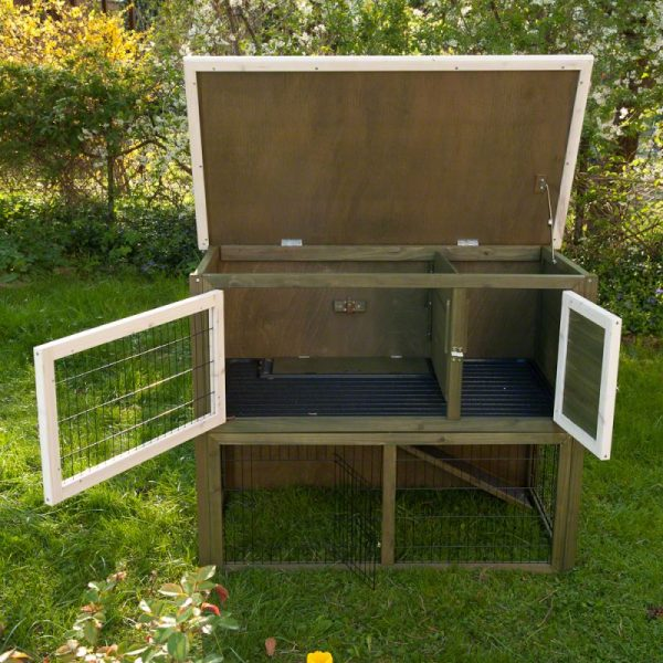 Outback Hutch Green with Run OPENED VIEW
