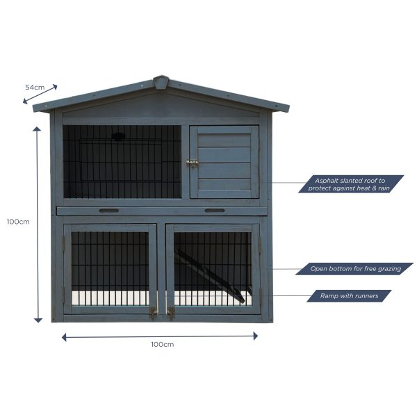 CHARLES BENTLEY FSC TWO STOREY GUINEA PIG HUTCH WITH PLAY AREA