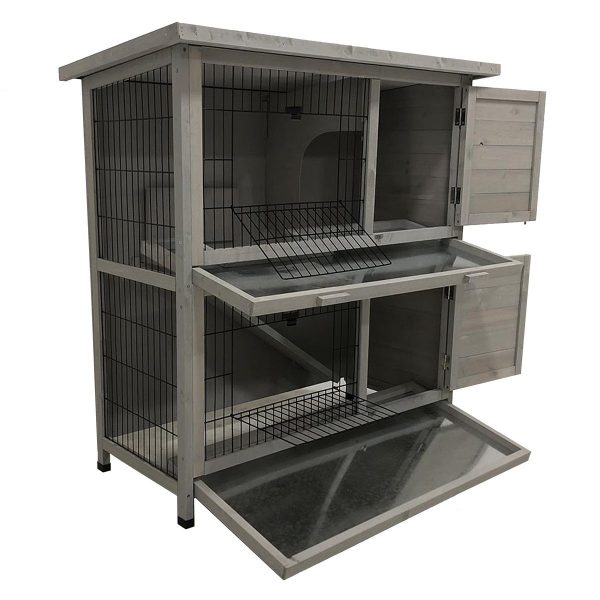 CHARLES BENTLEY FSC TWO STOREY GUINEA PIG HUTCH WITH TRAY GREY
