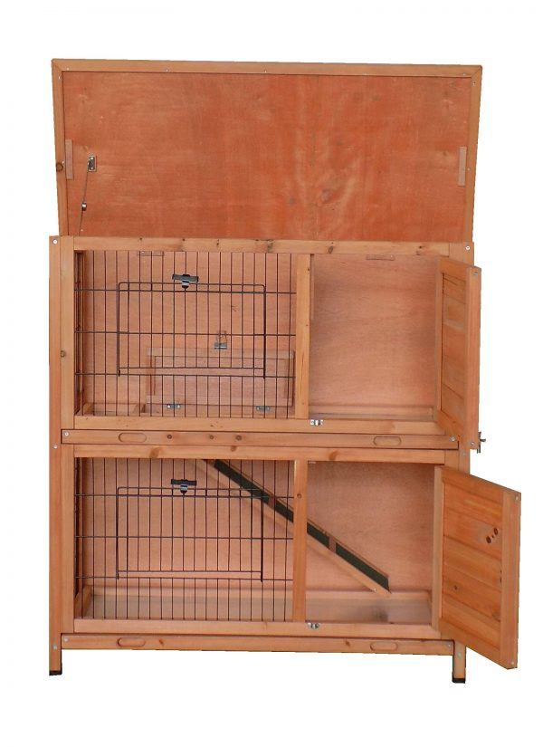 CHARLES BENTLEY FSC TWO STOREY GUINEA PIG HUTCH WITH TRAY NATURAL WOOD