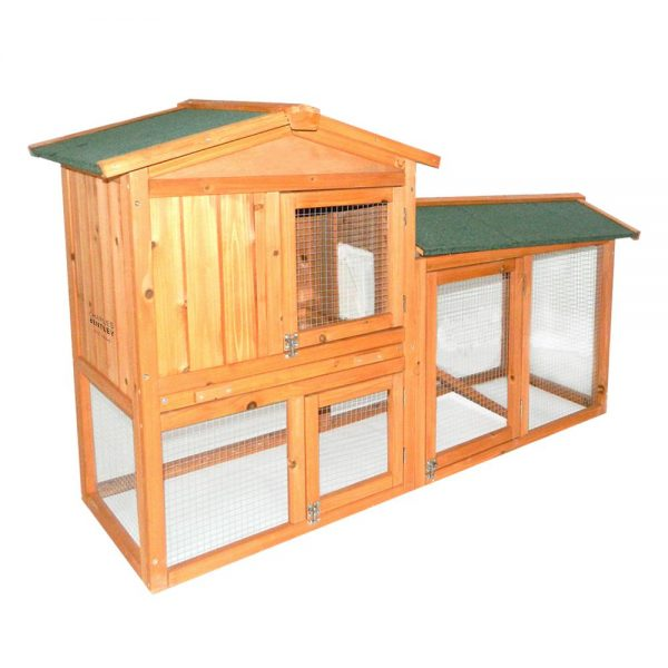 CHARLES BENTLEY TWO STOREY HUTCH WITH RUN NATURAL WOOD COLOUR
