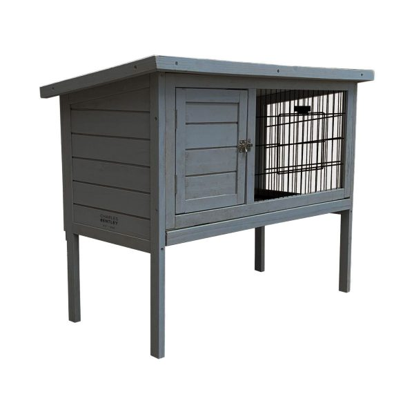 CHARLES BENTLEY WOODEN GUINEA PIG CAGE RUN WITH CLEANING TRAY IN GREY